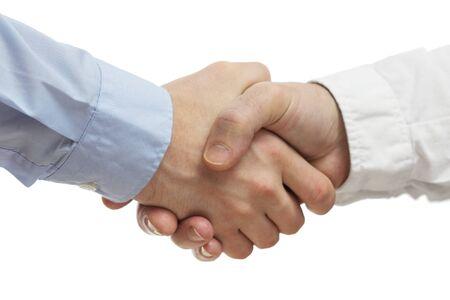 cerrando negocio: La gente de negocios apretón de manos acertado de cerrar un acuerdo