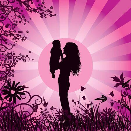 Happy family, vector illustration Stock Illustration - 880733