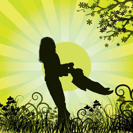 Happy family, vector illustration Stock Illustration - 882251