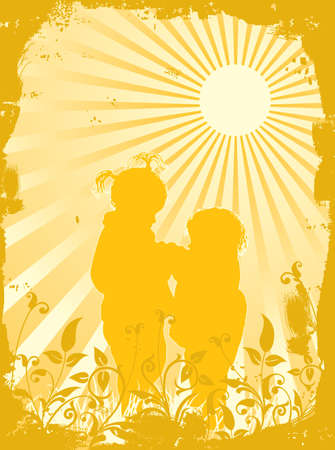 Silhouettes of children in beams of the sun, vector illustration Stock Illustration - 882254
