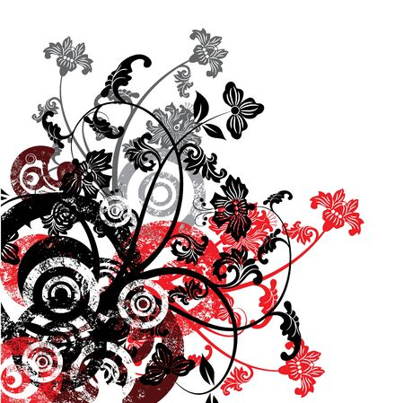 Grunge floral background, vector illustration Stock Illustration - 884167