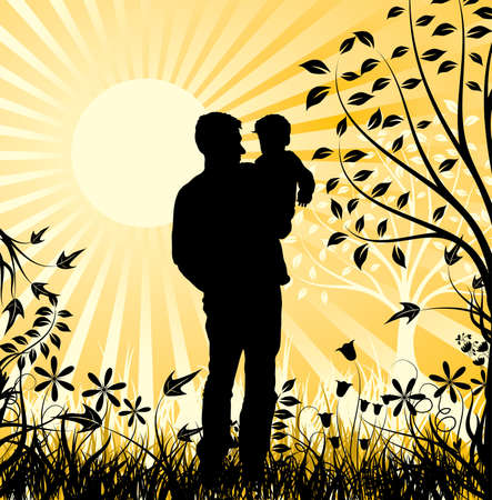 Happy family, vector illustration Stock Illustration - 884172