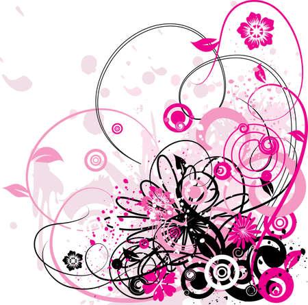 Grunge floral background, vector illustration Stock Illustration - 884203