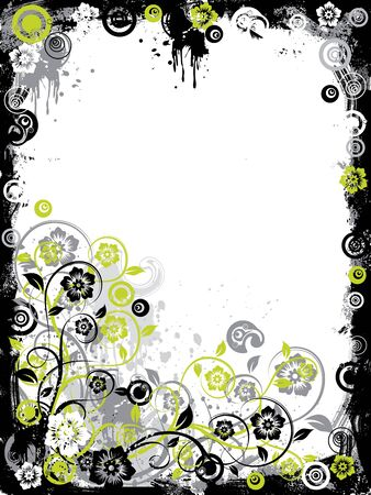 Grunge floral border, vector illustration Stock Illustration - 884222