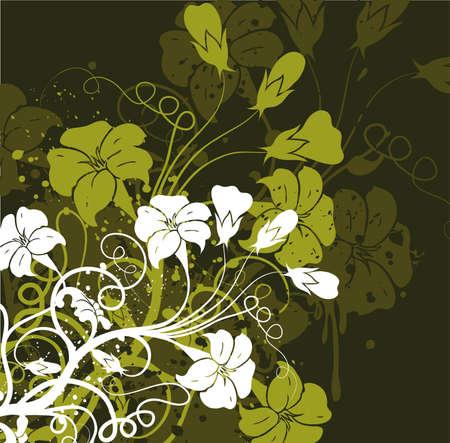 Grunge floral background photo