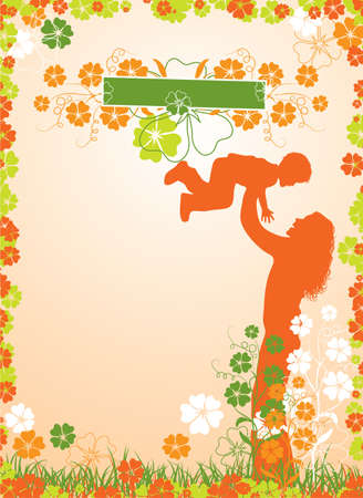 Mother, floral background Stock Photo - 895419
