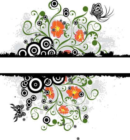 Grunge floral background, vector illustration  Stock Illustration - 955955