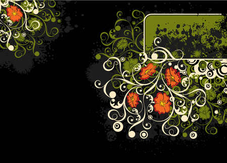 Grunge floral background, vector illustration  Stock Illustration - 955956
