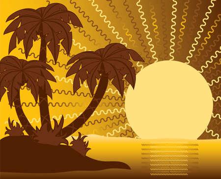 Summer scene, beach, palms photo
