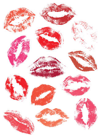 pucker: Print of lips, kiss Stock Photo