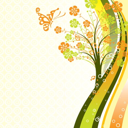 Decorative tree background, vector illustration