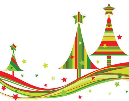 Kerst boom achtergrond, vector illustratie  Vector Illustratie