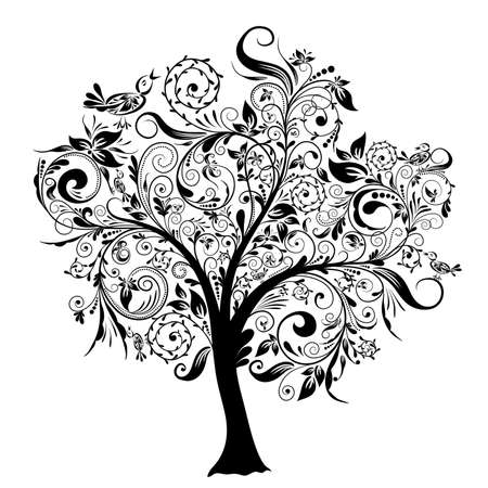flower tattoo: Decorative tree, vector illustration