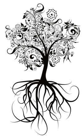 boom wortels: Decoratieve boom & wortels, vectorillustratie