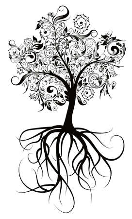plant with roots: Decorative tree & roots , vector illustration