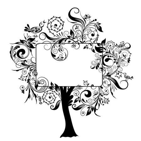 cartouche: Decorative floral tree, vector illustration