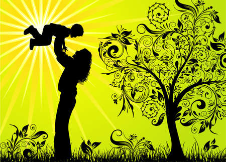 mums: Happy family, vector illustration