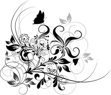 Floral abstract background, vector illustration  Çizim