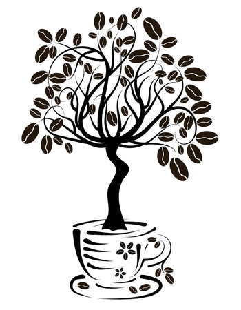coffee tree: Coffee tree in a cup, vector illustration Illustration