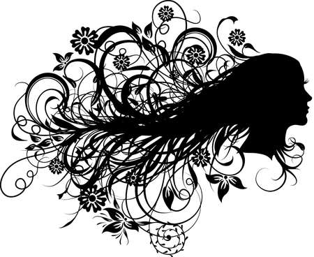 Floral abstract woman, vector illustration