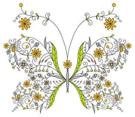 drawings image: Floral butterfly, vector illustration
