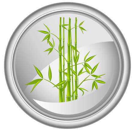 bush mesh: Button with a bamboo, vector illustration (mesh) Illustration