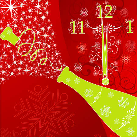 New years background with clock and sparks of a champagne, vector illustration Vector
