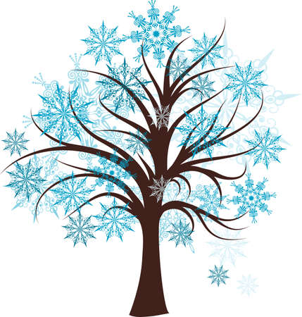 winter leaf: Decorative winter tree, vector illustration