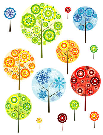 abstracts: Four seasons abstracts trees, vector illustration Illustration