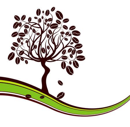 planta de cafe: Fondo de cafeto, ilustraci�n vectorial
