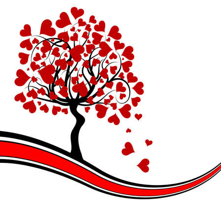 Valentines tree background, vector illustration
