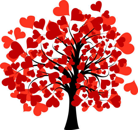 feb: Valentines tree background, vector illustration