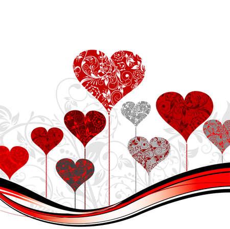 day valentine's day: Valentines tree background, vector illustration