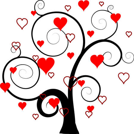 heart drawing: Valentines tree background, vector illustration