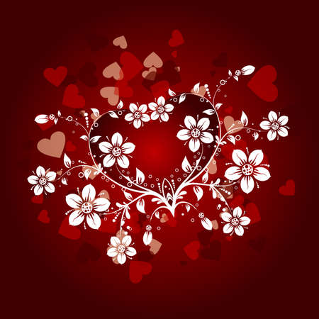 Valentines floral background, vector illustration Stock Vector - 8969266