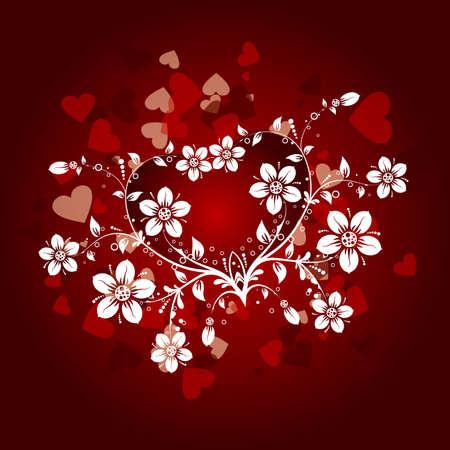 Valentines floral background, vector illustration Stock Vector - 8969266