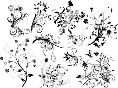tattoo art: Set of floral elements for design, vector illustration Illustration