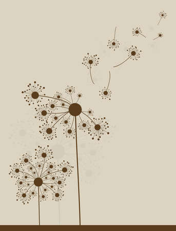 �bstract dandelion background, vector illustration