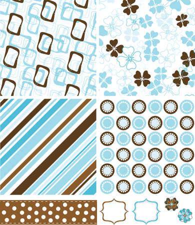 Scrapbook elements and patterns for design, vector illustration Vector