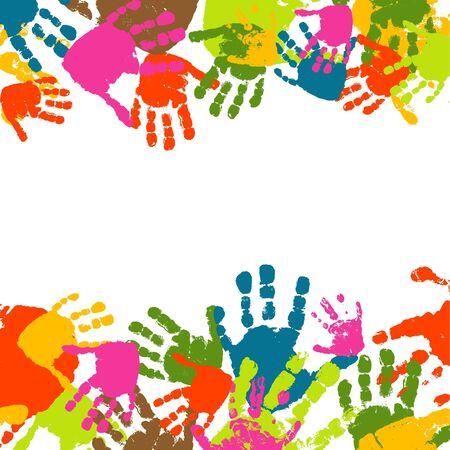 Résumé fond, des estampes de la main de l'enfant