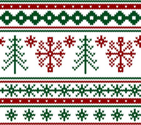 Seamless knitted christmas pattern, vector illustration Ilustracja
