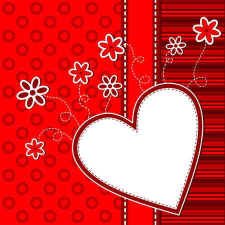 Template heart greeting card, vector illustration