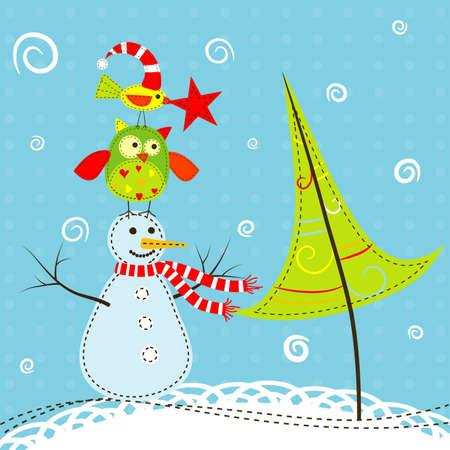 Template-Weihnachtsgruß-Karte, Vektor-Illustration