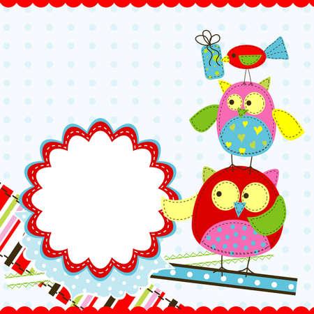 Template birthday greeting card, vector illustration