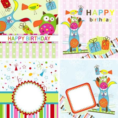 Plantilla de tarjetas de felicitación de cumpleaños, ilustración vectorial