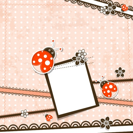 Template greeting card, vector scrap illustration