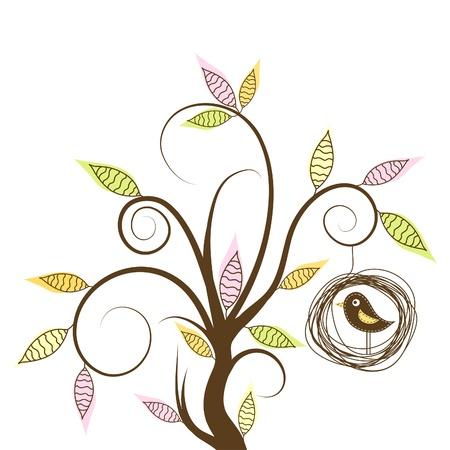Arbre décoratif et d'oiseaux, illustration vectorielle