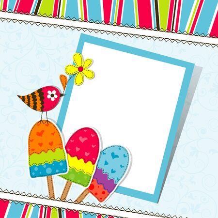 Template greeting card, scrapbook vector illustration Illustration