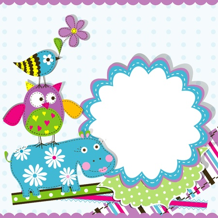 Template greeting card,  scrap illustration