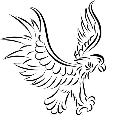 Abstract tattoo eagle, vector illustration